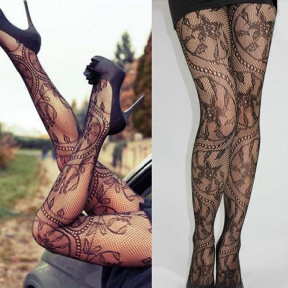 d27eb8085ed Floral Swirl Black Fishnet Pantyhose Stockings